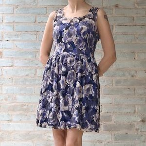 Urban Outfitters Dress Blue Floral Lace Fit Flare